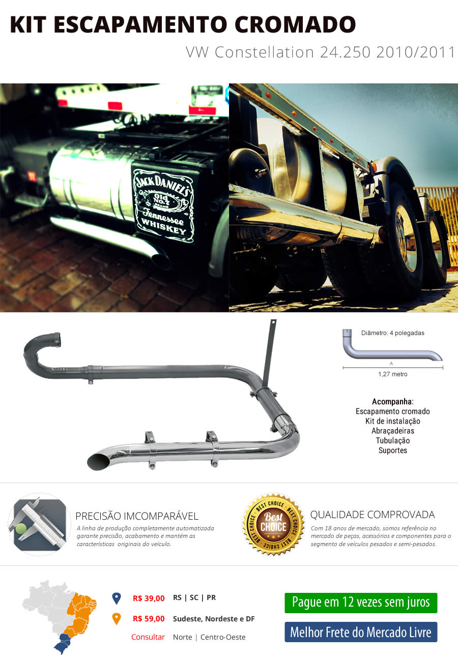 Kit Escapamento VW Constellation 24.250 2010/2011